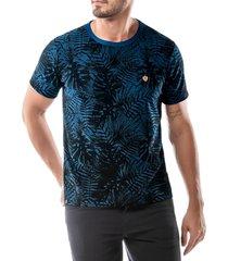 camiseta estampa floral no stress azul - kanui