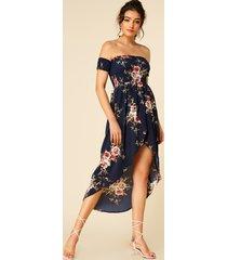 estampado floral azul oscuro de la gasa del hombro vestido