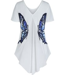 back v neck butterfly graphic high low t shirt