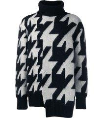 alexander mcqueen intarsia funnel neck sweater - black