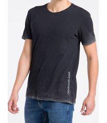 camiseta masculina bordas desbotadas preta calvin klein jeans - g