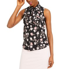 bar iii floral-print sleeveless top, created for macy's