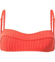peony piped crop bikini top - orange