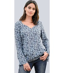 blouse alba moda blauw::wit::salie