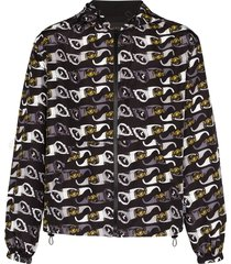 versace hooded sunglasses-print jacket - black