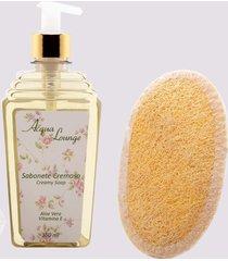 conjunto voil banho classic (sabonete líquido 360ml e bucha vegetal de banho)