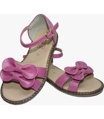sandalia en cuero fucsia pink girls
