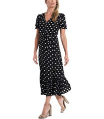 cece polka-dot tie-waist midi dress