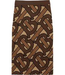 burberry monogram intarsia wool pencil skirt - brown