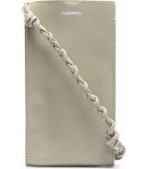 jil sander tangle mini crossbody bag in sage-colored leather