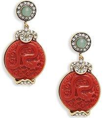 heidi daus women's goldtone, crystal & resin drop earrings
