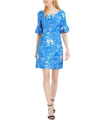pappagallo tropical-print ruffled bell-sleeve dress