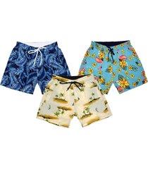 kit 3 shorts praia  estampado microfibra com elastano bolsos laterais
