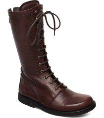 long boot with laces. höga stövlar brun angulus