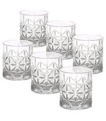 conjunto 6 copos baixos vidro sodo-cálcico stella 300 ml - branco