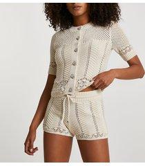 river island womens cream summer stitch shorts