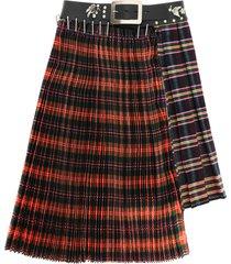chopova lowena asymmetric pleated skirt with belt