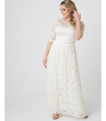 kiyonna womens plus size lace illusion gown