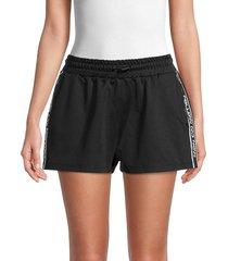 redvalentino women's logo-tape shorts - nero - size s