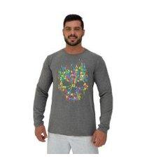 camiseta manga longa moletinho mxd conceito caveira abstrata