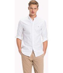 tommy hilfiger men's slim fit stretch cotton oxford shirt bright white - l