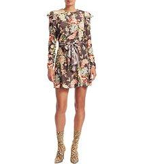 eye spy floral tie-waist mini dress