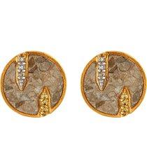 battice' champagne diamonds 18k gold vermeil resin stud earrings