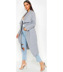 belted waterfall coat, grey