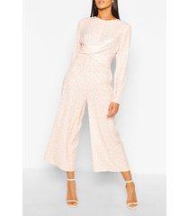tall polka dot wrap waist culotte jumpsuit, pink