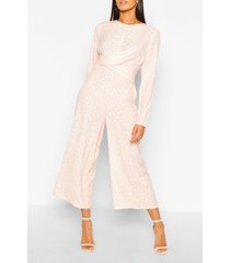 tall culotte jumpsuit met stippen en ceintuur, roze