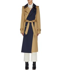 paneled belted cuff double collar trench coat