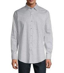 bugatchi men's regular-fit graph-check shirt - white - size 16