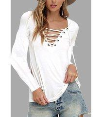 camisetas de manga larga con cuello en v informal con cordones en blanco