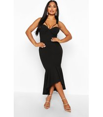 cupped strap detail fishtail midi dress, black