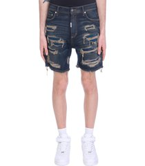 represent shorts in blue denim