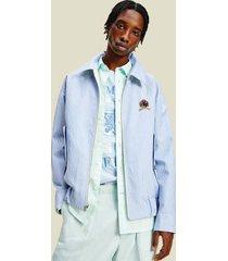 tommy hilfiger men's icon reversible ivy jacket frosted lemon/ light blue - xs