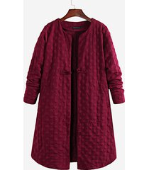 donna cappotto lungo con collo tondo chiuso con bottoni in colore a tinta unita a maniche lunghe con taglia forte