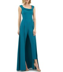 women's kay unger maxi romper, size 6 - blue/green