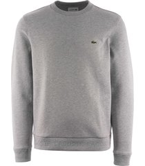 lacoste contrast accents sweatshirt - silver chine sh4385