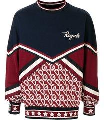 dolce & gabbana panelled 'royals' patch sweatshirt - blue