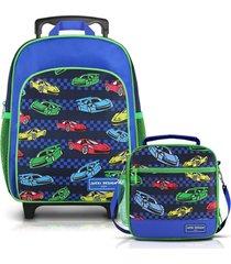 conjunto mochila com rodinhas p e lancheira térmica carro jacki design sapeka azul marinho