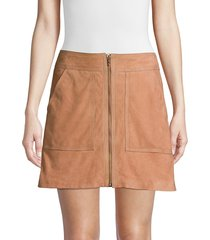 trina turk women's wine country harvest suede a-line mini skirt - blonde - size 14