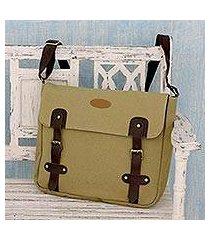 leather trimmed canvas messenger bag, 'summer venture in khaki' (india)
