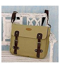 leather trimmed canvas messenger bag, 'summer venture in khaki' (india)