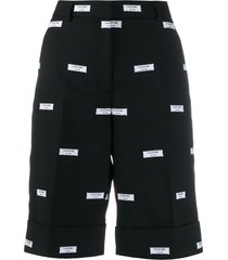 thom browne all-over logo-patch shorts - black