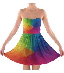 rainbow geometric shapes sweetheart strapless skater dress