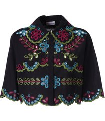 red valentino floral cut-out cropped shirt