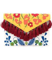 carolina herrera floral-embroidered tassel clutch - white