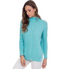 blusa myah catharine azul turquesa gola alta em tricã´ - azul - feminino - dafiti