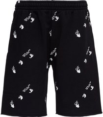 off-white jersey bermuda shorts with allover logo print